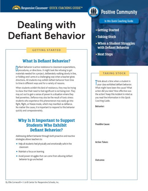 Quick Coaching Guide Dealing with Defiant Behavior
