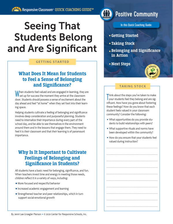 Quick Coaching Guide: Seeing That Students Belong and Are Significant
