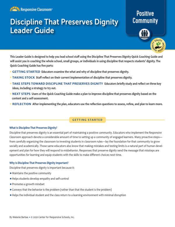 Leadership Guide Discipline That Preserves Dignity