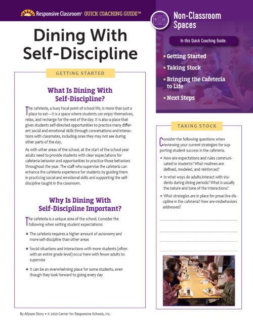 Quick Coaching Guide: Dining with Self-Discipline