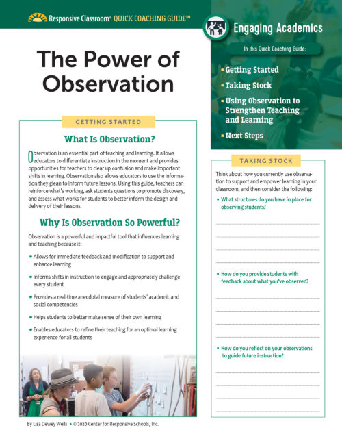 Quick Coaching Guide: The Power of Observation